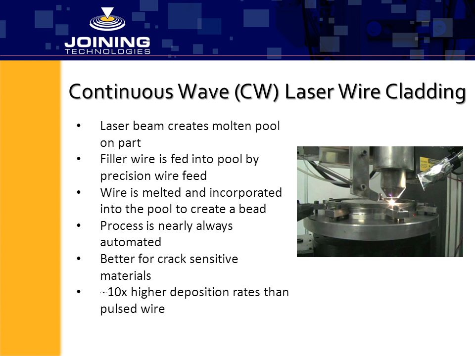 Continuous Wave (CW) Laser Wire Cladding Laser beam creates molten pool on part Filler wire is fed into pool by precision wire feed Wire is melted and