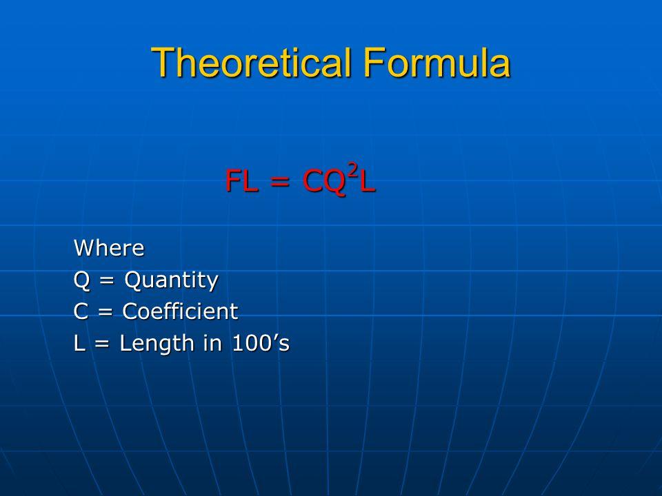 Theoretical Formula FL = CQ 2 L FL = CQ 2 LWhere Q = Quantity C = Coefficient L = Length in 100's