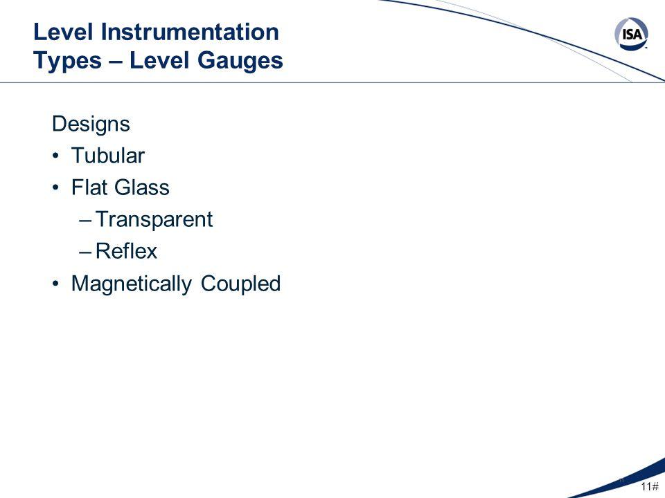 11# 11 Level Instrumentation Types – Level Gauges Designs Tubular Flat Glass –Transparent –Reflex Magnetically Coupled