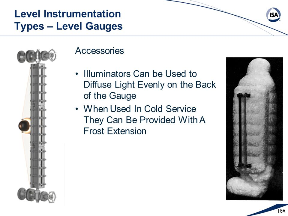 16# Level Instrumentation Types – Level Gauges Accessories Illuminators Can be Used to Diffuse Light Evenly on the Back of the Gauge When Used In Cold