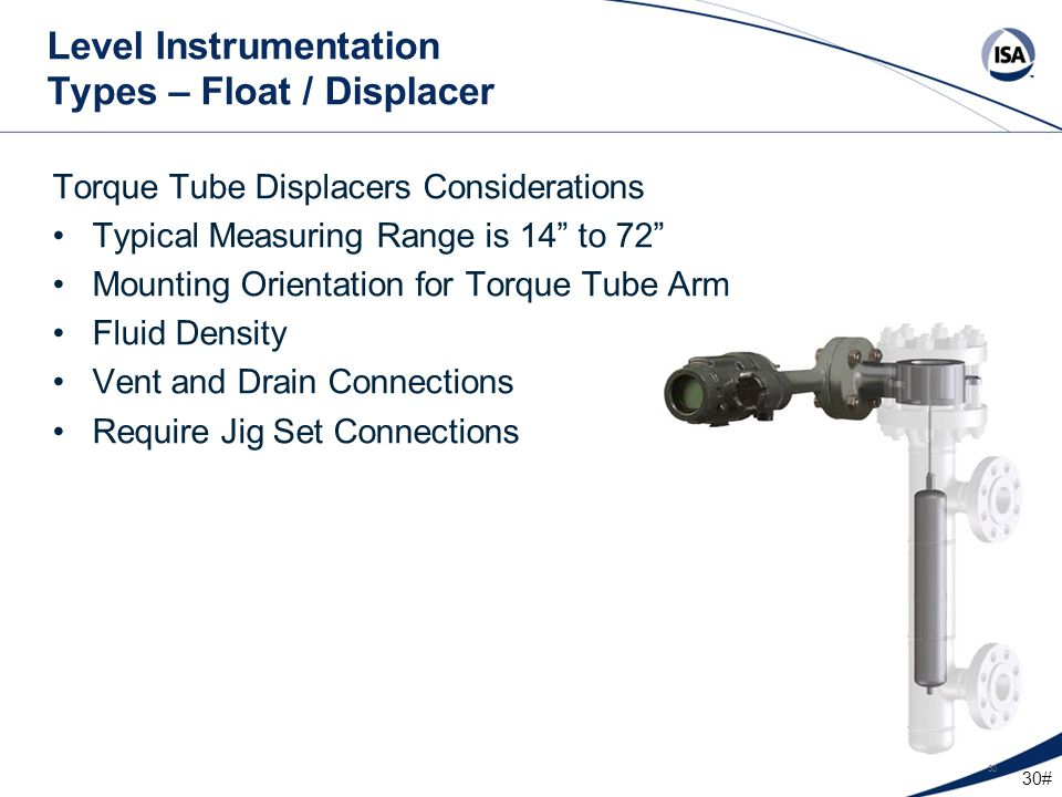 """30# 30 Level Instrumentation Types – Float / Displacer Torque Tube Displacers Considerations Typical Measuring Range is 14"""" to 72"""" Mounting Orientatio"""