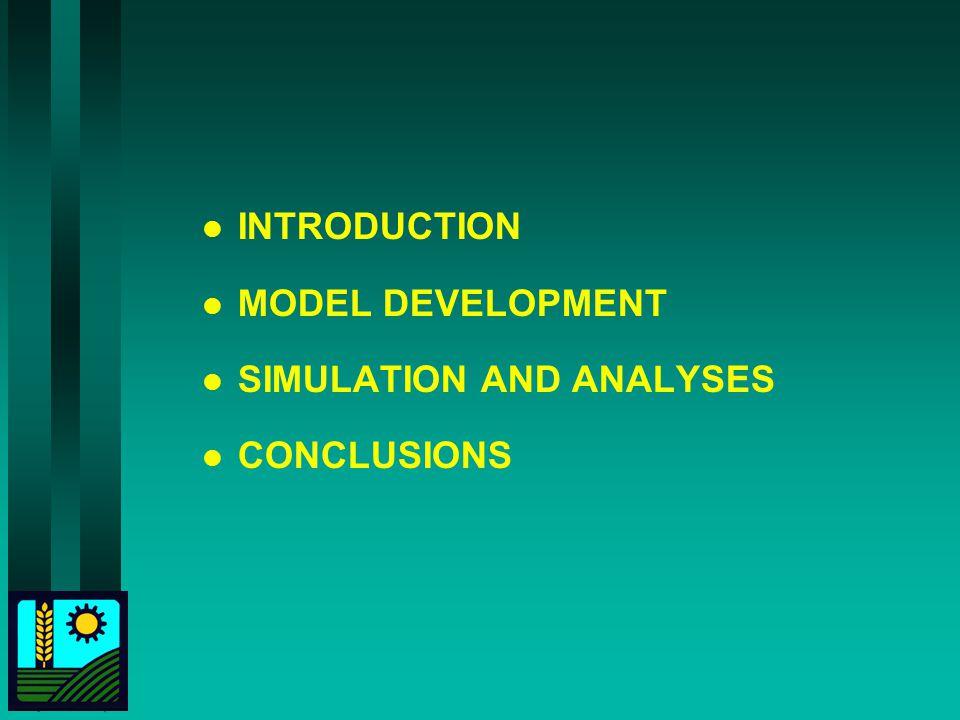 l INTRODUCTION l MODEL DEVELOPMENT l SIMULATION AND ANALYSES l CONCLUSIONS
