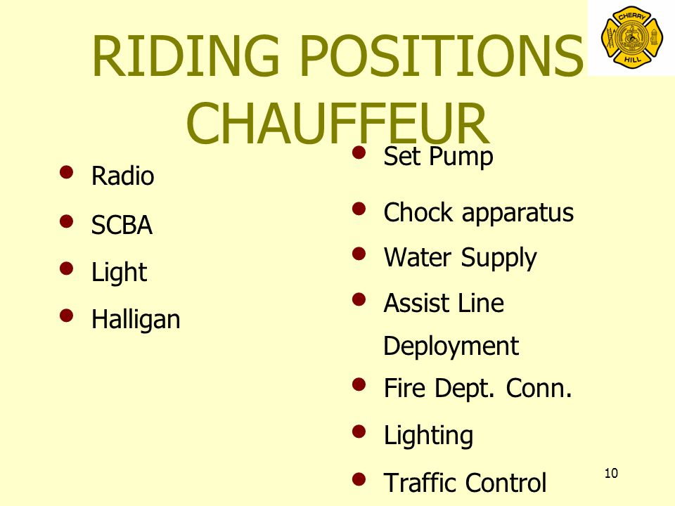 10 RIDING POSITIONS CHAUFFEUR Radio SCBA Light Halligan Set Pump Chock apparatus Water Supply Assist Line Deployment Fire Dept.