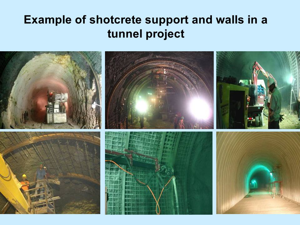 Example of shotcrete support and walls in a tunnel project tunnelling