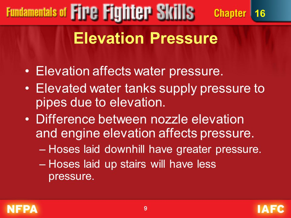9 Elevation Pressure Elevation affects water pressure. Elevated water tanks supply pressure to pipes due to elevation. Difference between nozzle eleva