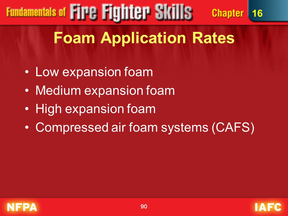 90 Foam Application Rates Low expansion foam Medium expansion foam High expansion foam Compressed air foam systems (CAFS) 16