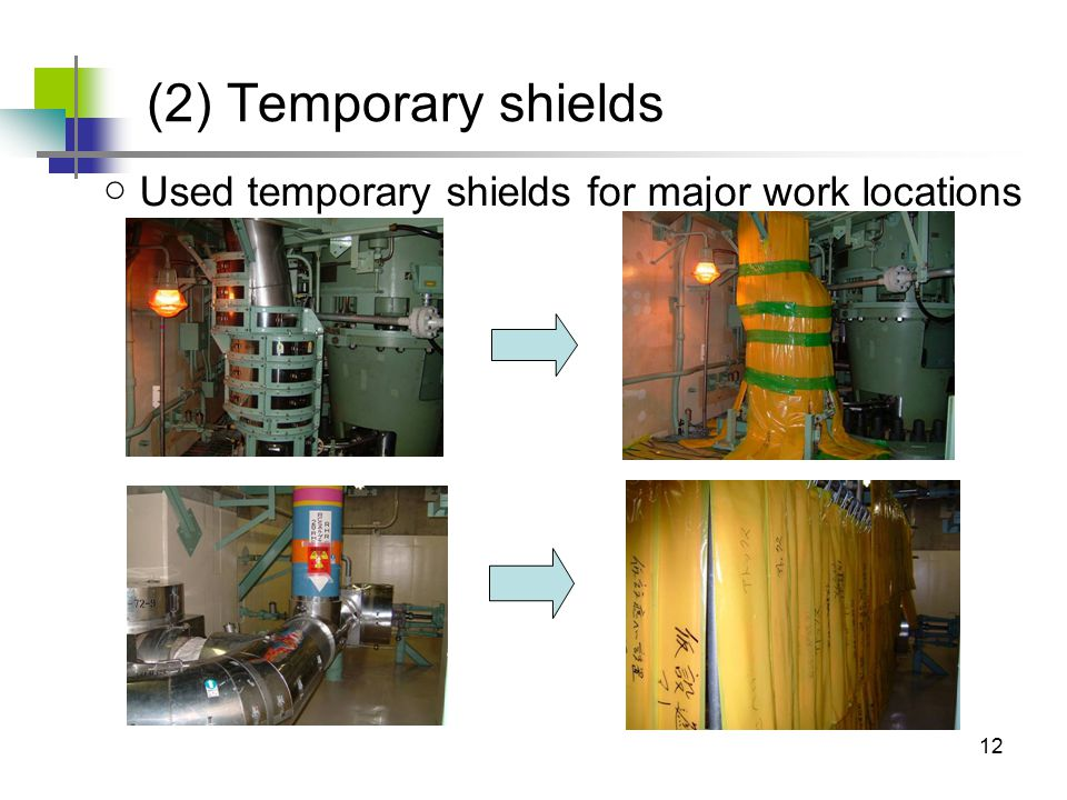 12 ○ Used temporary shields for major work locations (2) Temporary shields