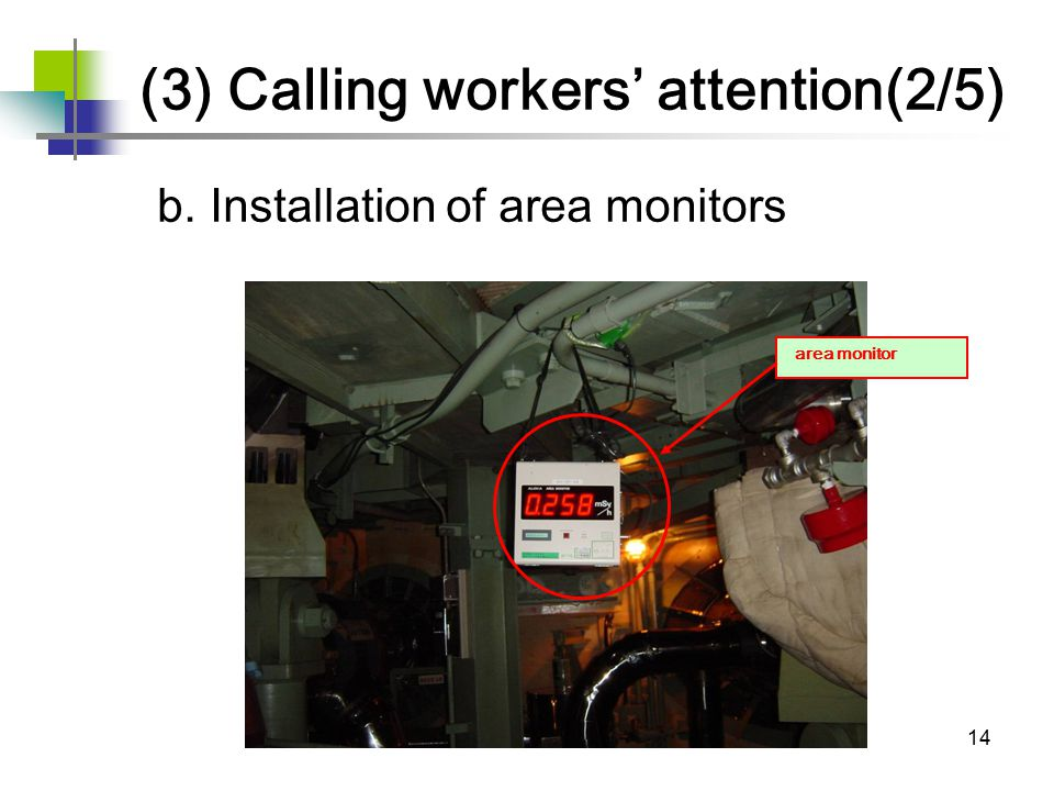 14 b. Installation of area monitors area monitor (3) Calling workers' attention(2/5)