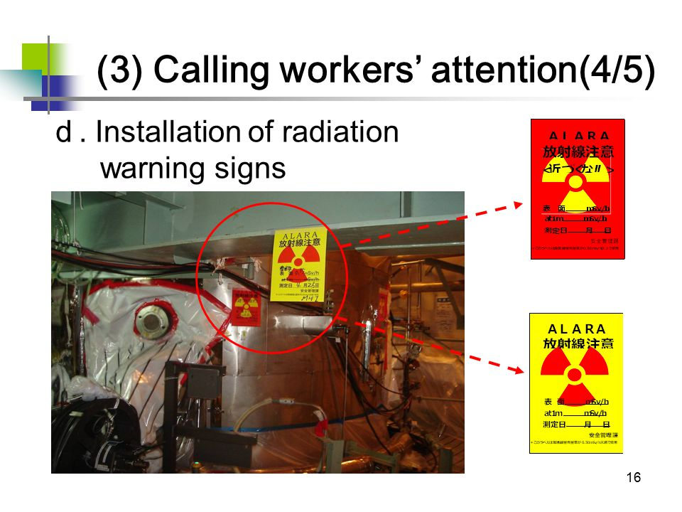 16 d. Installation of radiation warning signs more than 0.50mSv/h under 0.50mSv/h (3) Calling workers' attention(4/5)