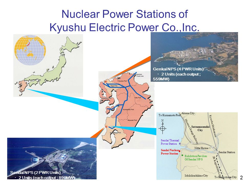 2 Nuclear Power Stations of Kyushu Electric Power Co.,Inc. Genkai NPS (4 PWR Units) ・ 2 Units (each output ; 559MW) ・ 2 Units (each output ; 1,180MW)
