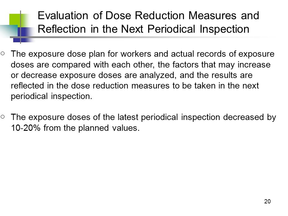 20 ○The exposure dose plan for workers and actual records of exposure doses are compared with each other, the factors that may increase or decrease exposure doses are analyzed, and the results are reflected in the dose reduction measures to be taken in the next periodical inspection.