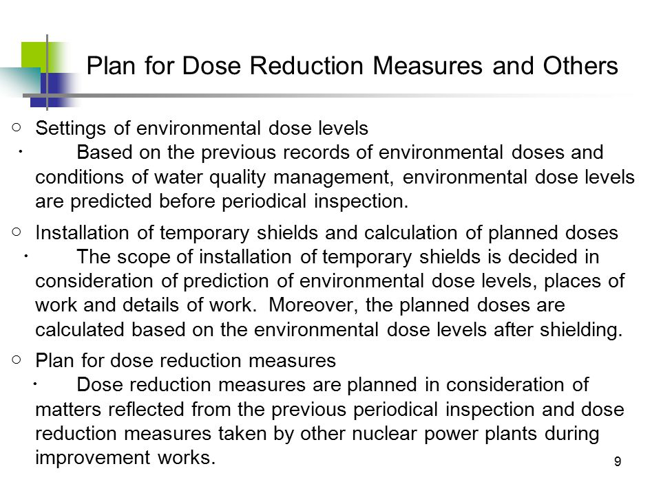 10 (1) Work processes (2) Temporary shields (3) Calling workers' attention (4) Improvement of awareness (5) Education Results of dose reduction measures