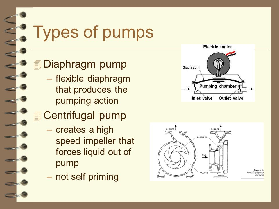 Types of pumps 4 Diaphragm pump –flexible diaphragm that produces the pumping action 4 Centrifugal pump –creates a high speed impeller that forces liquid out of pump –not self priming