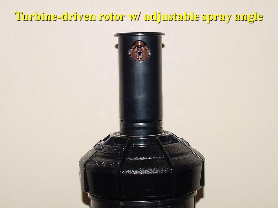 Turbine-driven rotor w/ adjustable spray angle