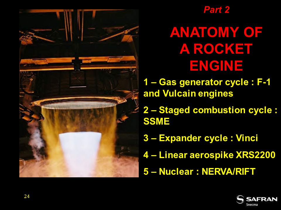 24 1 – Gas generator cycle : F-1 and Vulcain engines 2 – Staged combustion cycle : SSME 3 – Expander cycle : Vinci 4 – Linear aerospike XRS2200 5 – Nuclear : NERVA/RIFT Part 2 ANATOMY OF A ROCKET ENGINE
