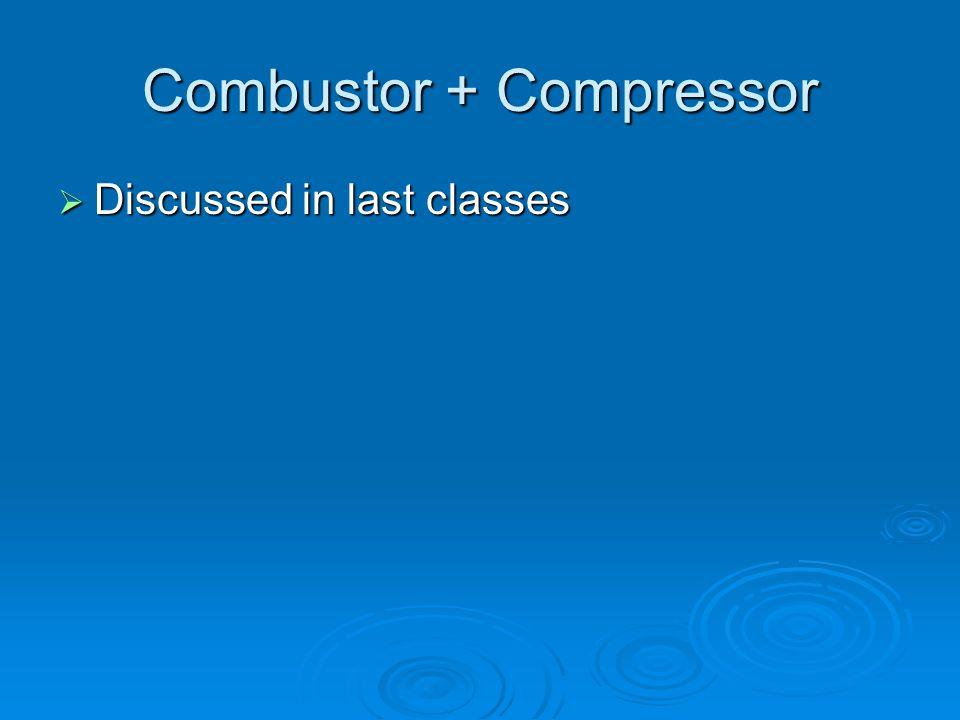 Combustor + Compressor  Discussed in last classes