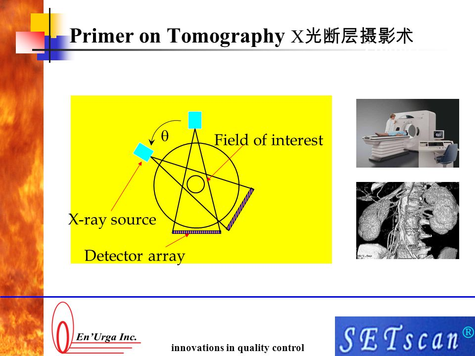 ® innovations in quality control Primer on Tomography X 光断层摄影术 Product  X-ray source Detector array Field of interest