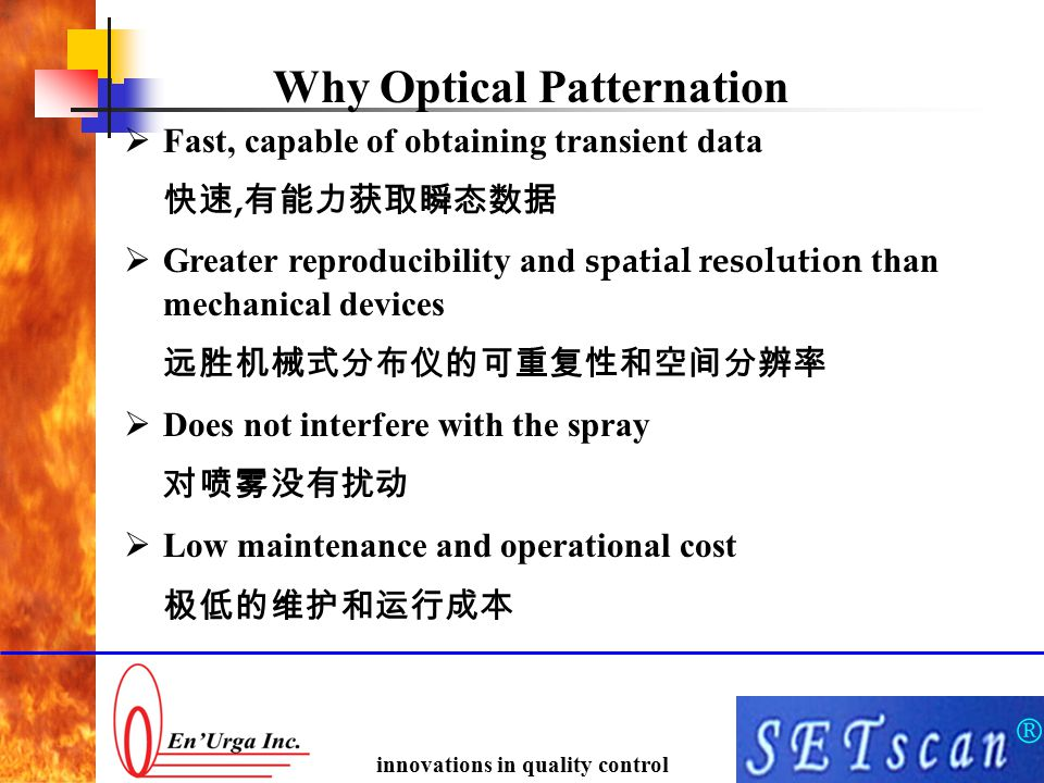 ® innovations in quality control Why Optical Patternation  Fast, capable of obtaining transient data 快速, 有能力获取瞬态数据  Greater reproducibility and spat