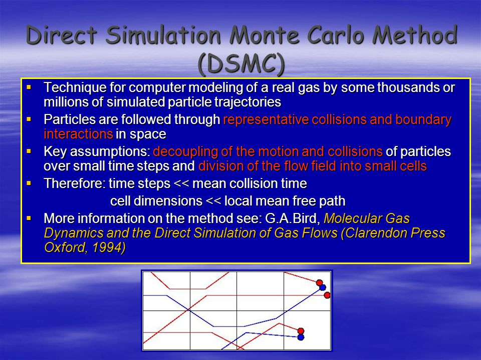 Direct Simulation Monte Carlo Method (DSMC)  Technique for computer modeling of a real gas by some thousands or millions of simulated particle trajectories  Particles are followed through representative collisions and boundary interactions in space  Key assumptions: decoupling of the motion and collisions of particles over small time steps and division of the flow field into small cells  Therefore: time steps << mean collision time cell dimensions << local mean free path cell dimensions << local mean free path  More information on the method see: G.A.Bird, Molecular Gas Dynamics and the Direct Simulation of Gas Flows (Clarendon Press Oxford, 1994)