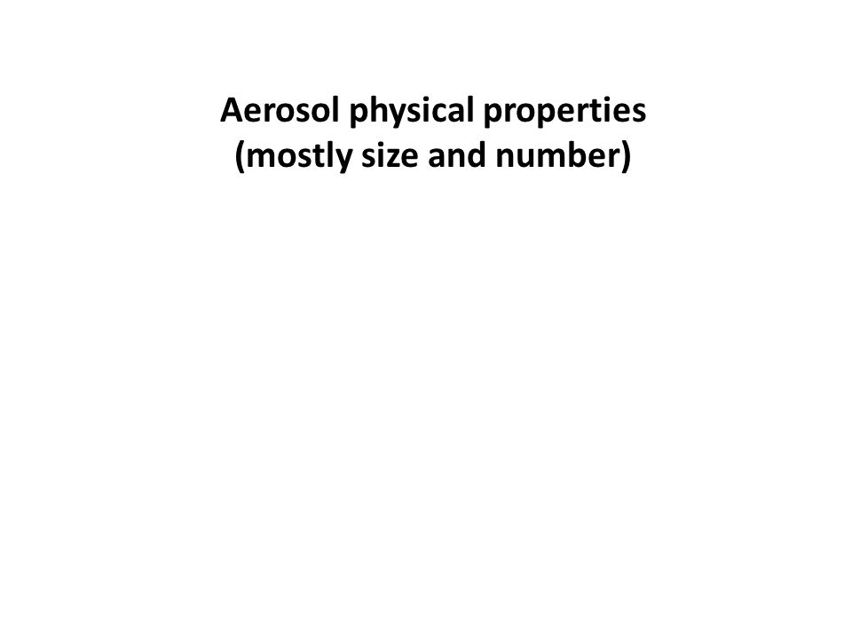 Aerosol physical properties (mostly size and number)