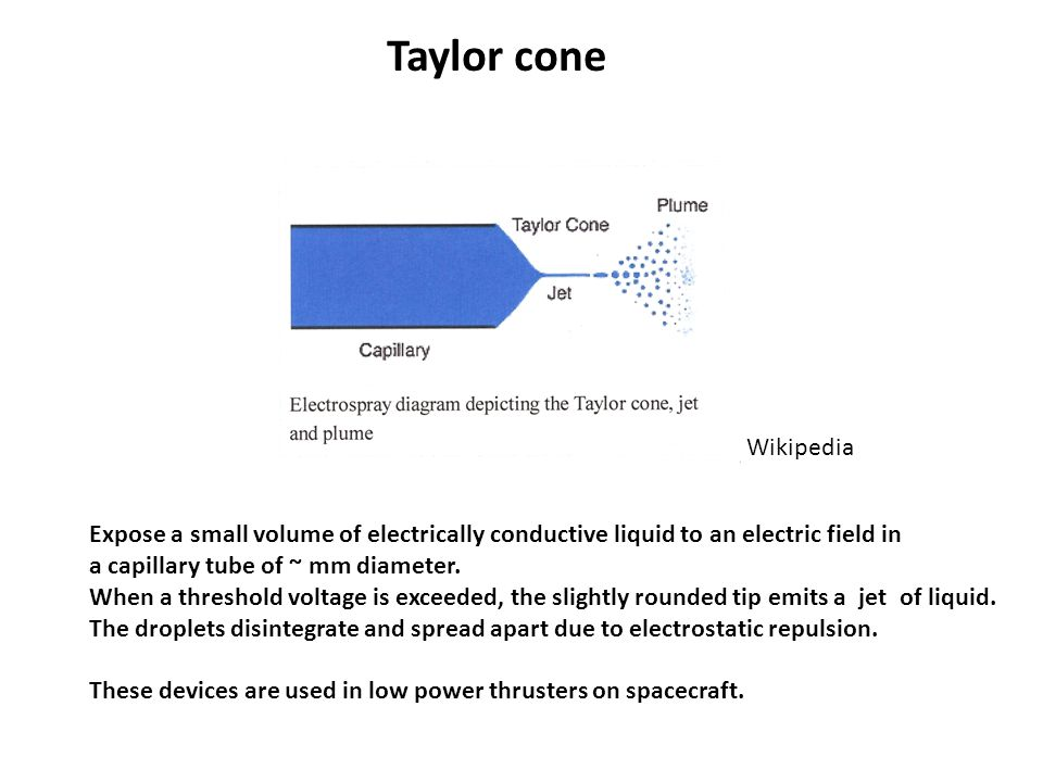 Taylor cone Wikipedia Expose a small volume of electrically conductive liquid to an electric field in a capillary tube of ~ mm diameter.