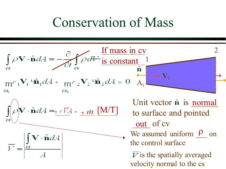 If V tangent to n kinetic energy correction term V = point velocity V = average velocity over cs Energy Equation: Kinetic Energy  = _________________________  =___ for uniform velocity 1