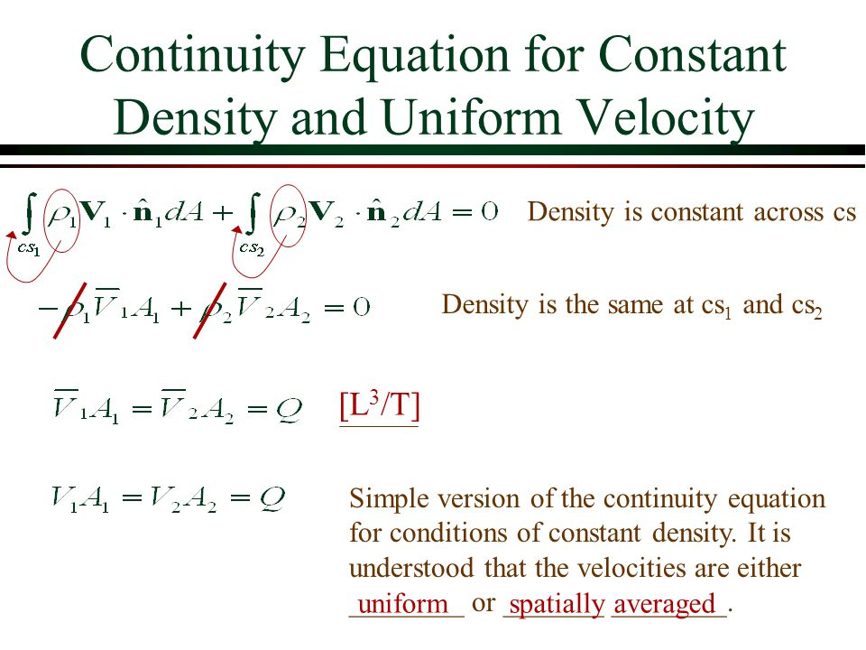 Continuity Equation for Constant Density and Uniform Velocity Density is constant across cs Density is the same at cs 1 and cs 2 [L 3 /T] Simple versi