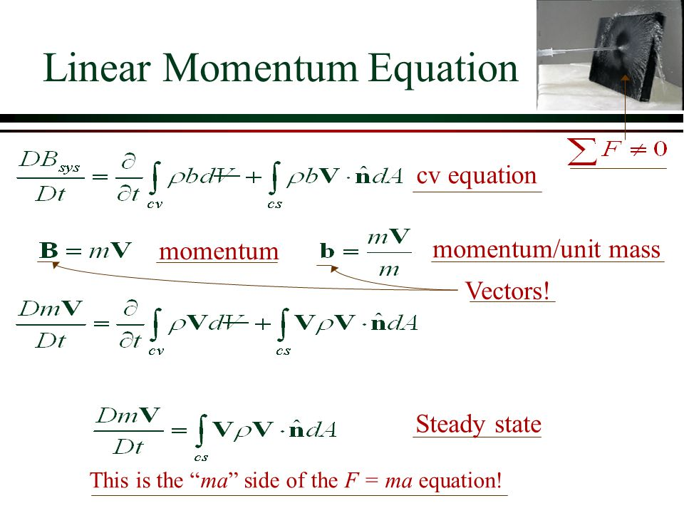 "Linear Momentum Equation cv equation momentum momentum/unit mass Steady state This is the ""ma"" side of the F = ma equation! Vectors!"
