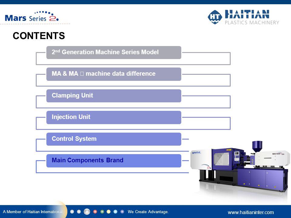 We Create Advantage. www.haitianinter.com A Member of Haitian International CONTENTS 2 nd Generation Machine Series Model MA & MA Ⅱ machine data diffe