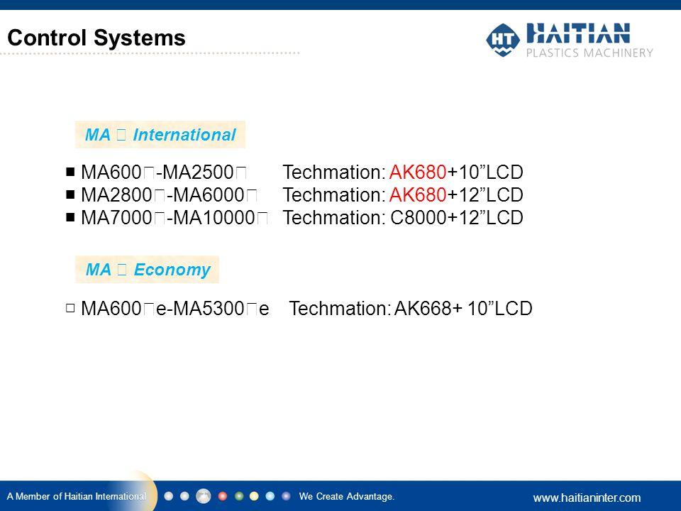 "We Create Advantage. www.haitianinter.com A Member of Haitian International Control Systems ■ MA600 Ⅱ -MA2500 Ⅱ Techmation: AK680+10""LCD ■ MA2800 Ⅱ -M"