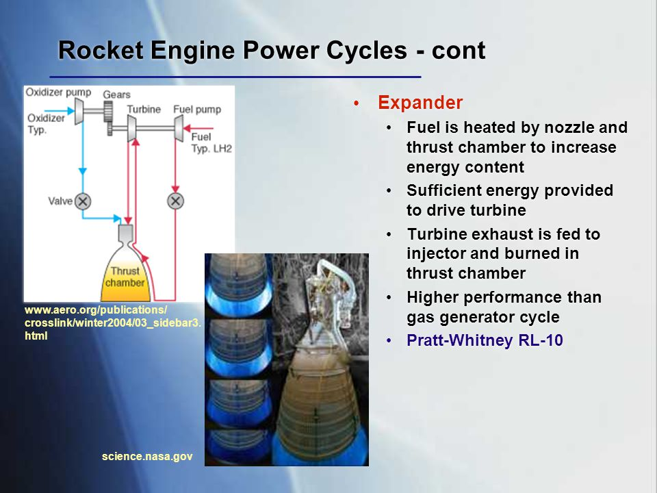Rocket Engine Power Cycles - cont Expander Fuel is heated by nozzle and thrust chamber to increase energy content Sufficient energy provided to drive
