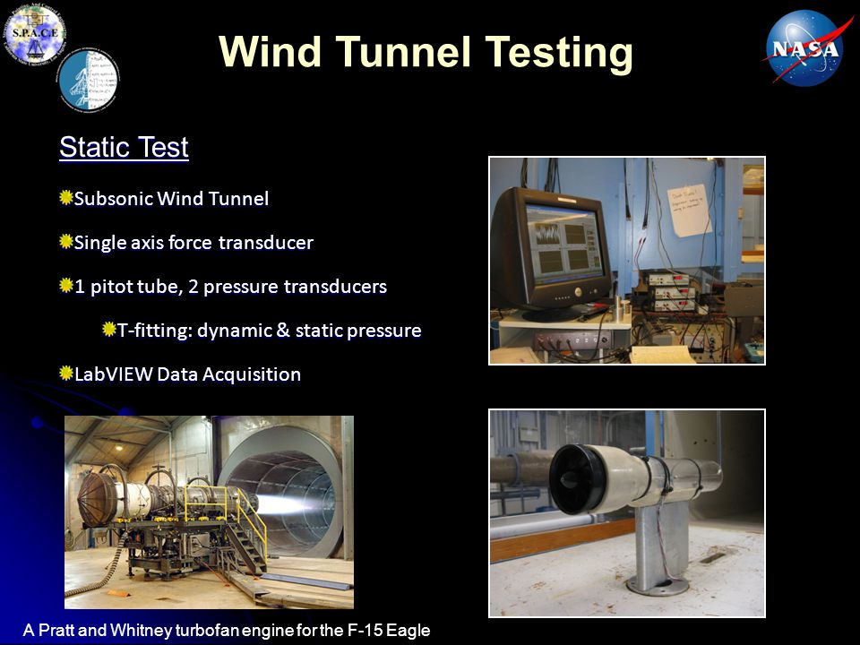 Wind Tunnel Testing Static Test Subsonic Wind Tunnel Single axis force transducer 1 pitot tube, 2 pressure transducers T-fitting: dynamic & static pressure LabVIEW Data Acquisition A Pratt and Whitney turbofan engine for the F-15 Eagle