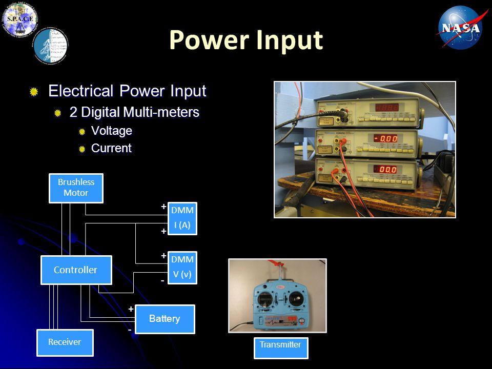Power Input Electrical Power Input 2 Digital Multi-meters Voltage Current Brushless Motor Controller Battery Receiver DMM V (v) DMM I (A)+ - + + + - T