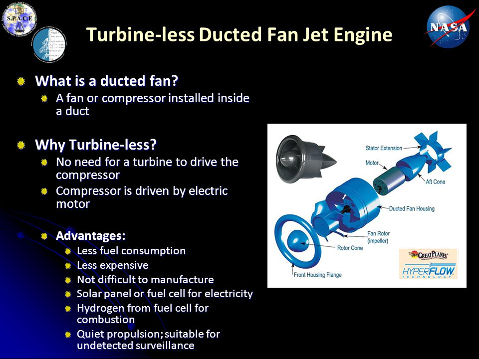 Turbine-less Ducted Fan Jet Engine What is a ducted fan? A fan or compressor installed inside a duct Why Turbine-less? No need for a turbine to drive