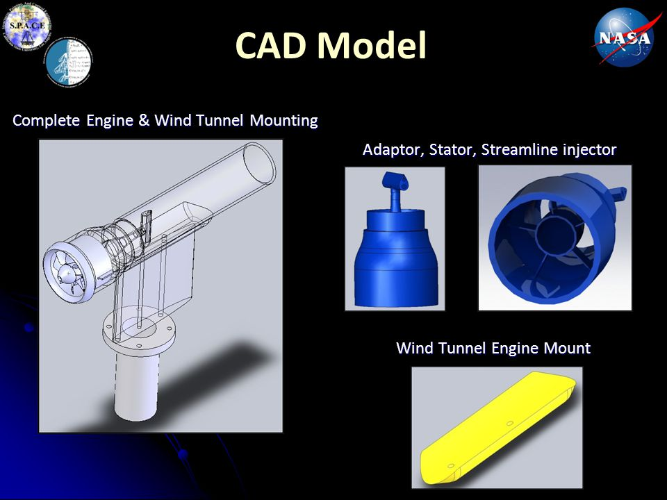 CAD Model Adaptor, Stator, Streamline injector Complete Engine & Wind Tunnel Mounting Wind Tunnel Engine Mount