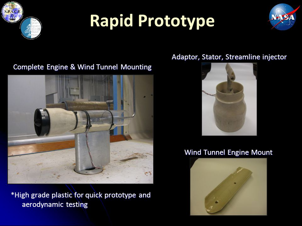Rapid Prototype Adaptor, Stator, Streamline injector Complete Engine & Wind Tunnel Mounting Wind Tunnel Engine Mount *High grade plastic for quick pro