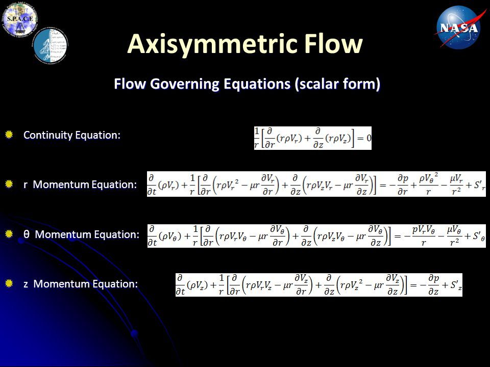 Axisymmetric Flow Flow Governing Equations (scalar form) Continuity Equation: r Momentum Equation: θ Momentum Equation: z Momentum Equation: