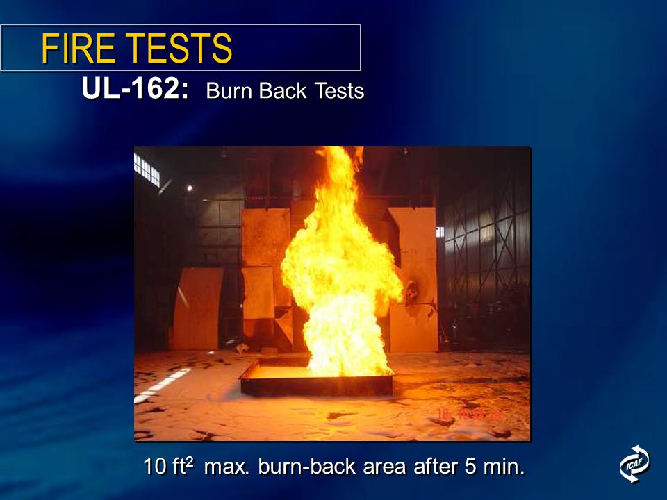 10 ft 2 max. burn-back area after 5 min. UL-162: Burn Back Tests FIRE TESTS
