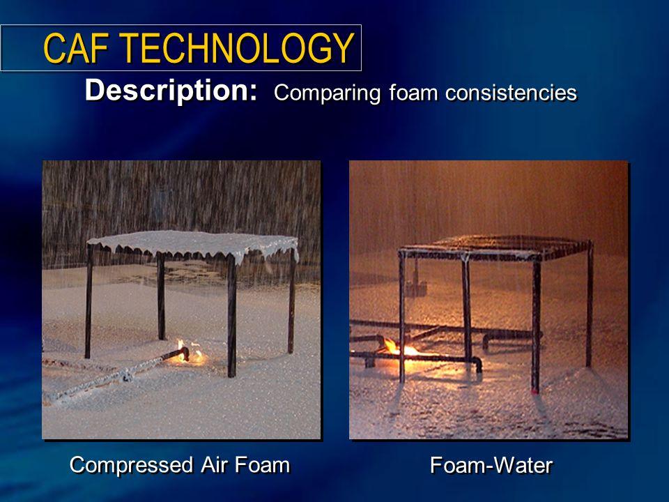 Compressed Air Foam Description: Comparing foam consistencies Foam-Water CAF TECHNOLOGY