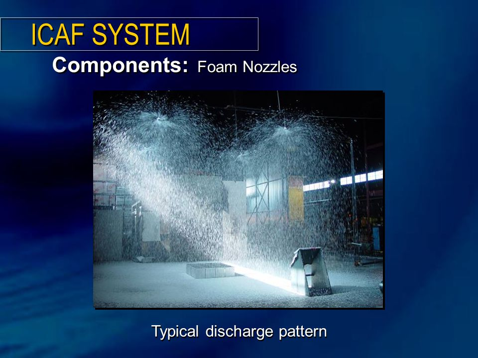 Typical discharge pattern Components: Foam Nozzles ICAF SYSTEM