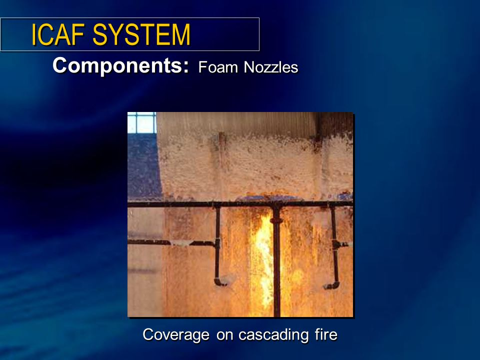 Coverage on cascading fire Components: Foam Nozzles ICAF SYSTEM