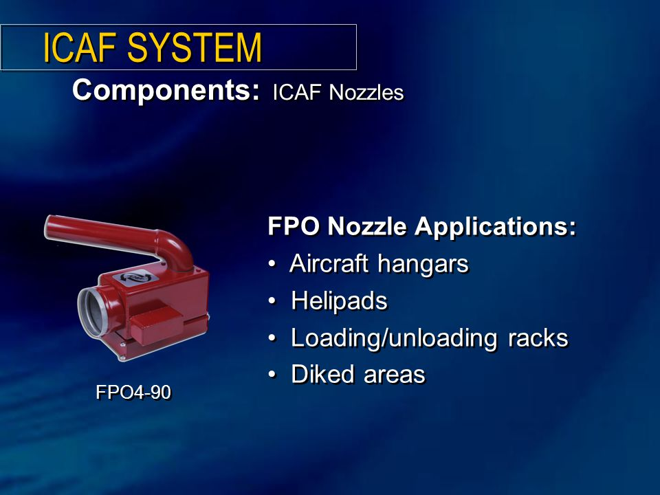 Components: ICAF Nozzles ICAF SYSTEM FPO Nozzle Applications: Aircraft hangars Helipads Loading/unloading racks Diked areas FPO Nozzle Applications: Aircraft hangars Helipads Loading/unloading racks Diked areas FPO4-90