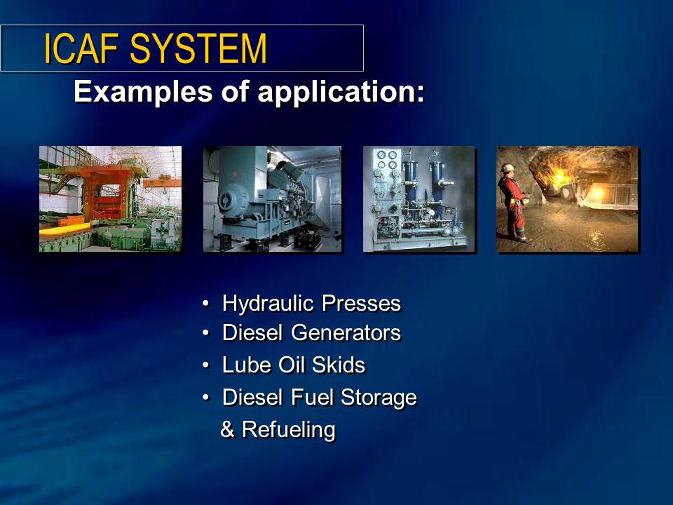 Examples of application: Hydraulic Presses Diesel Generators Lube Oil Skids Diesel Fuel Storage & Refueling Hydraulic Presses Diesel Generators Lube Oil Skids Diesel Fuel Storage & Refueling ICAF SYSTEM
