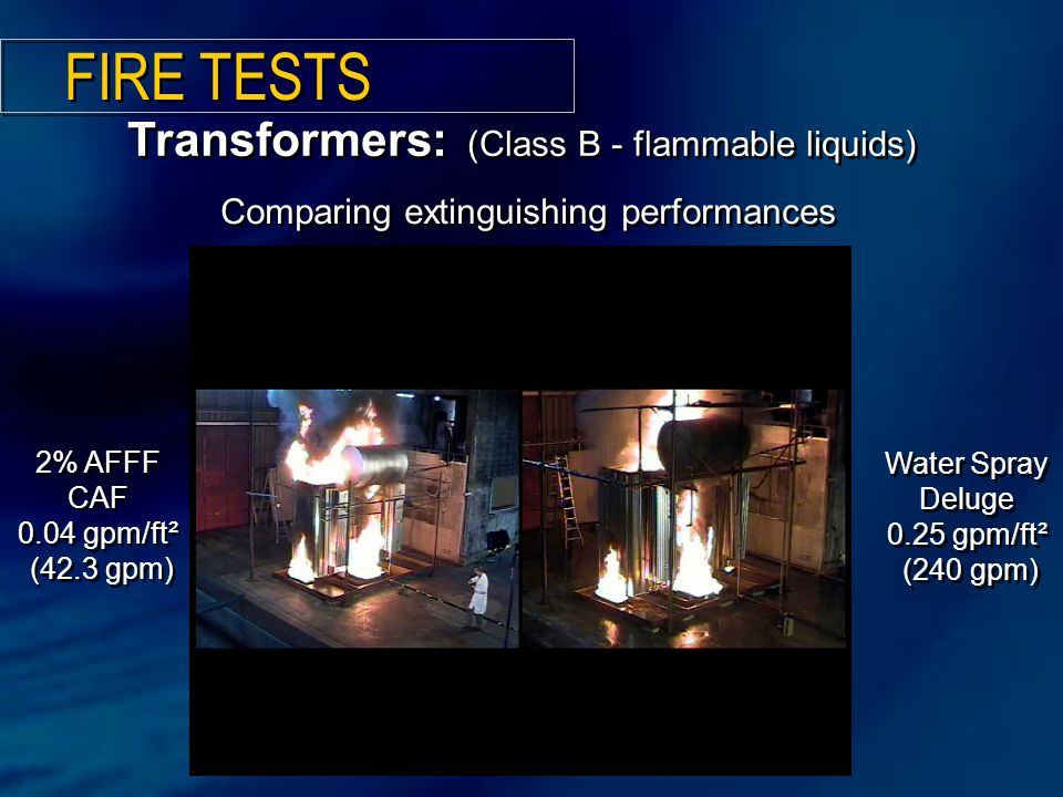 Comparing extinguishing performances Transformers: (Class B - flammable liquids) 2% AFFF CAF 0.04 gpm/ft² (42.3 gpm) Water Spray Deluge 0.25 gpm/ft² (240 gpm) FIRE TESTS