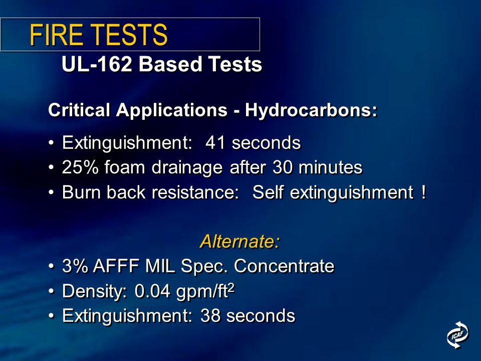 UL-162 Based Tests Critical Applications - Hydrocarbons: Extinguishment: 41 seconds 25% foam drainage after 30 minutes Burn back resistance: Self exti