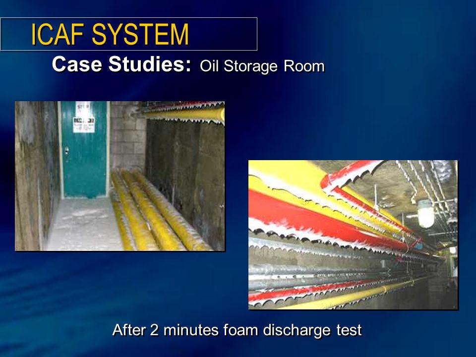 After 2 minutes foam discharge test Case Studies: Oil Storage Room ICAF SYSTEM