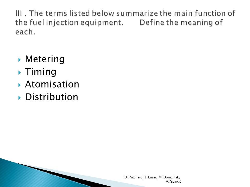  Metering  Timing  Atomisation  Distribution B. Pritchard, J. Luzer, M. Borucinsky, A. Spinčić