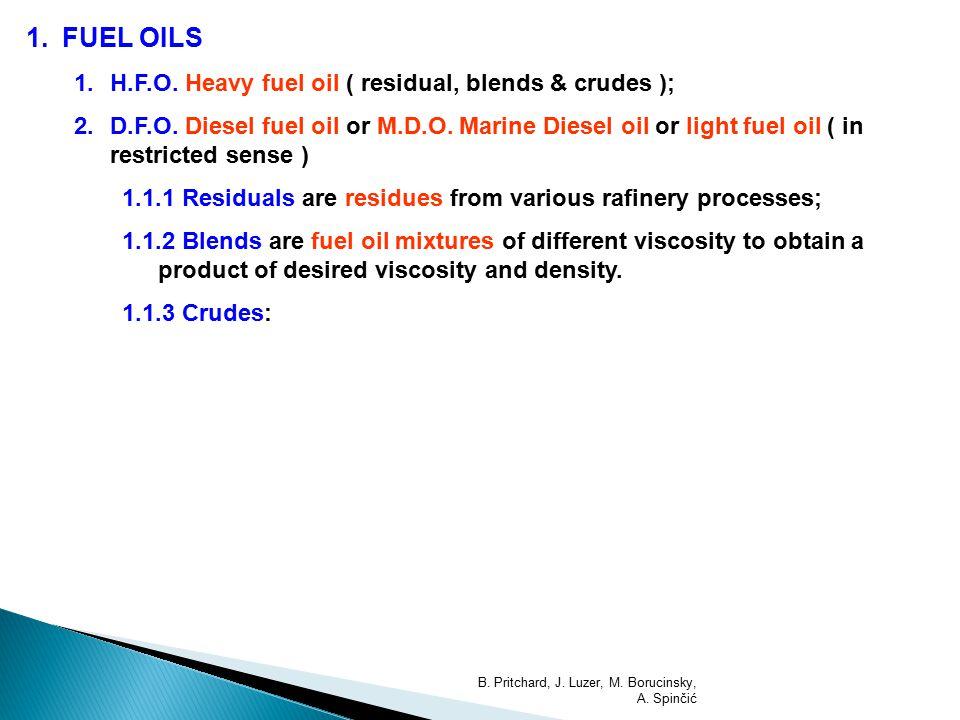 1.FUEL OILS 1.H.F.O.Heavy fuel oil ( residual, blends & crudes ); 2.D.F.O.