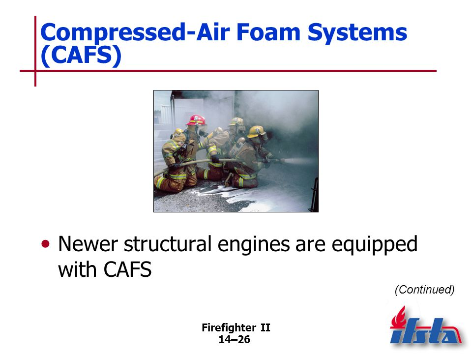 Firefighter II 14–26 Compressed-Air Foam Systems (CAFS) Newer structural engines are equipped with CAFS (Continued)