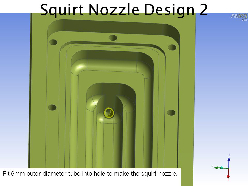 Squirt Nozzle Design 2 Fit 6mm outer diameter tube into hole to make the squirt nozzle.